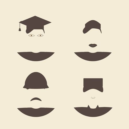 undergraduate: Male and female avatar faces. Construction worker and soldier. Nurse and graduate student. Flat style  design template monochrome vector illustration.