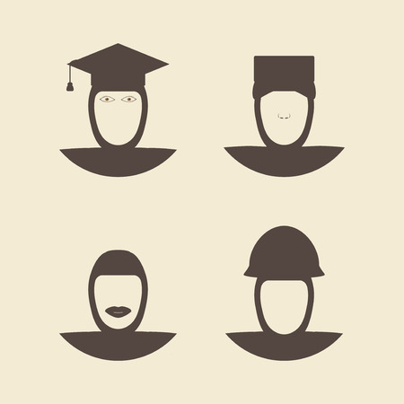 undergraduate: Muslim female wearing hijab avatar faces. Engineer and soldier. Nurse and graduate student. Flat style  design template monochrome vector illustration. Illustration