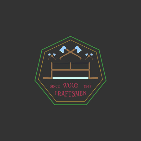 woodsman: Logotype for construction and carpentry industries. Design elements, objects and tools. Logo for natural log home builders and wood craftsmen. Vector illustration. Illustration