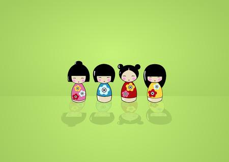 Funny asian dolls in a kimono on a scene