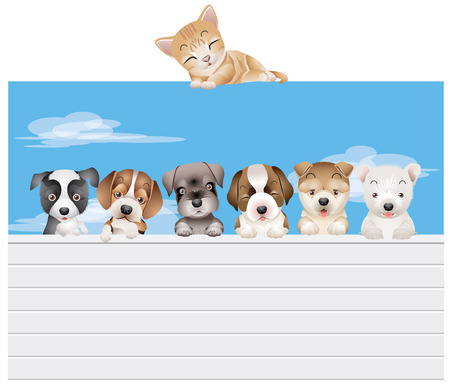 child and dog: Vector dog family on a fence under supervision of a cat Illustration