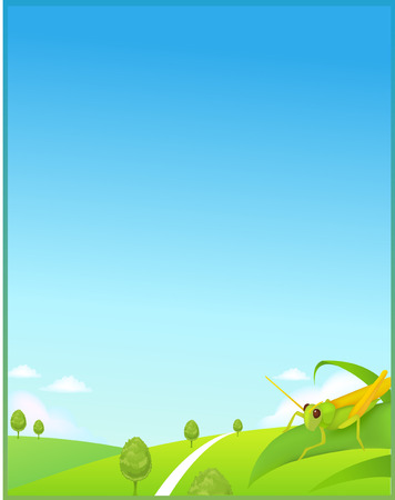 idyll: Sunny Meadow landscape of vector illustration layered