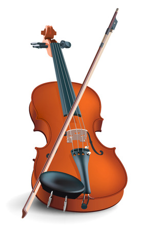 violines: El vector de la imagen realista de un instrumento musical bajo el nombre de un viol�n