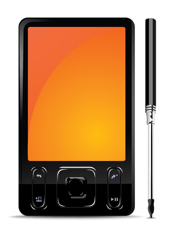Vector black mobile gadget with stylus Stock Vector - 4600098