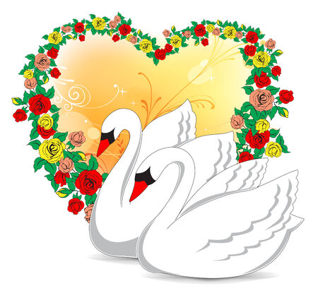 birds lake: Romantic swans.Vector illustration for Wedding invitation