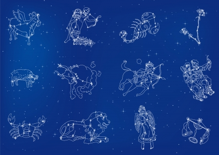 Zodiac signs located in the star sky Vector