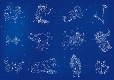 Zodiac tekenen zich in de sterrenhemel Vector Illustratie
