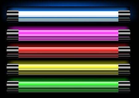 Kleurrijke neon lampen  Stock Illustratie