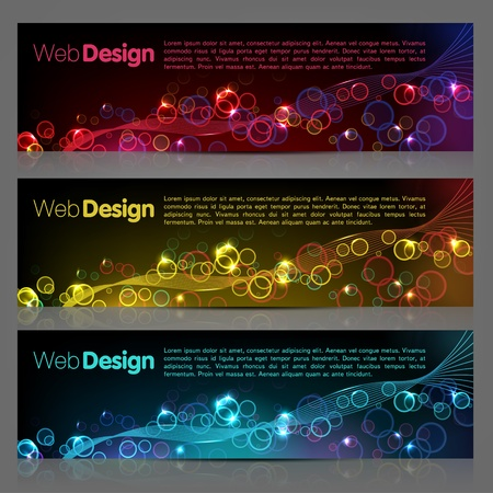 black smoke: Set of glowing abstract banners