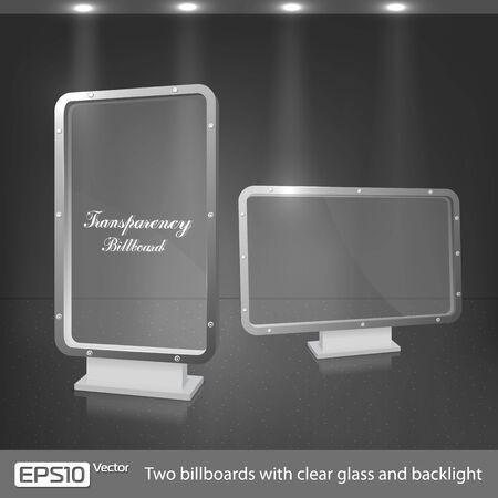 fondo luminoso: Dos vallas de vidrio claro y luz de fondo