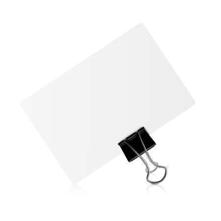 cut away: Binder tool clip visit card on white background