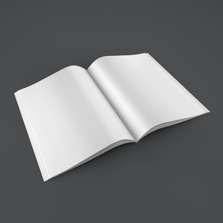newspaper print: Open book on clean background Stock Photo