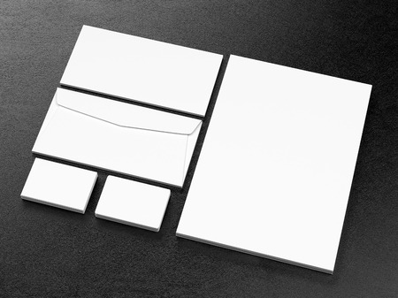 Corporate business template on black leather background