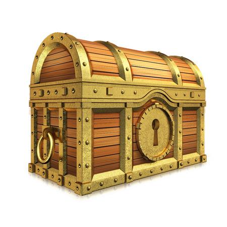 흰색 배경에 황금 품질의 보물 상자.