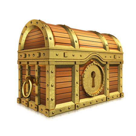 Golden quality treasure chest on white background. photo