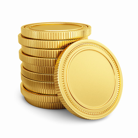 Gold coins isolated