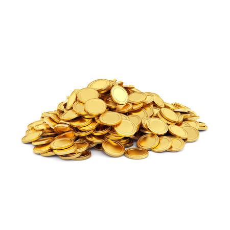 Gouden munten geïsoleerd op een witte achtergrond Stockfoto