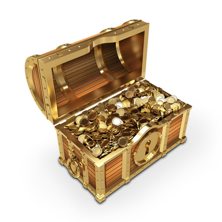 Golden quality treasure chest on white background  Stock Photo