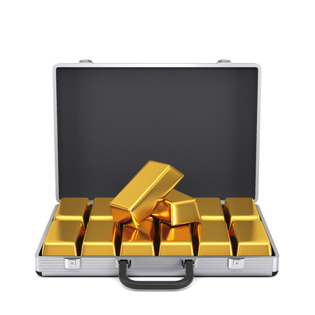 gold ingot: Metal case with gold bars isolated on a white background  Stock Photo
