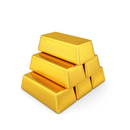 reserves: Golden bars pyramid isolated on a white background