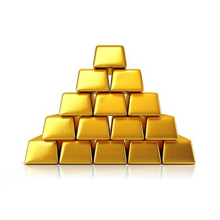 lingotes de oro: Barras de oro pir�mide aislada sobre un fondo blanco Foto de archivo