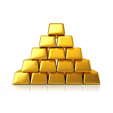 gold ingot: Golden bars pyramid isolated on a white background