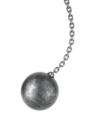 ball and chain: Wrecking ball isolated on a white background