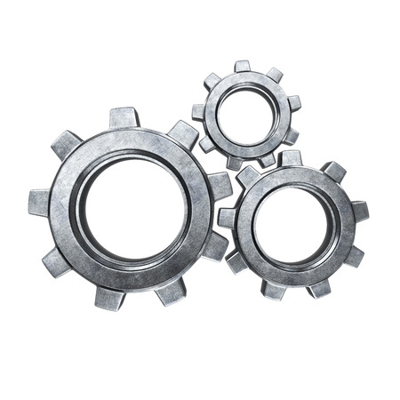 herramientas de mec�nica: Metal gear aislado en un fondo blanco Foto de archivo