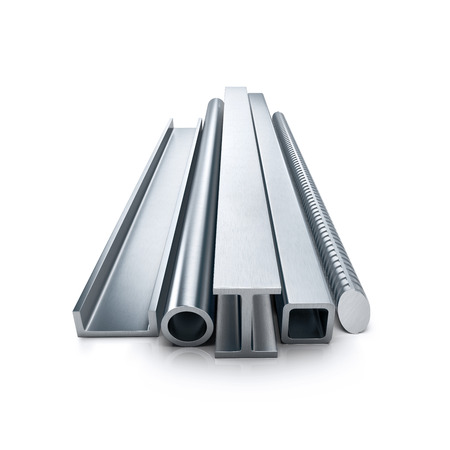 steel bar: Rolled metal products. Isolated on white background