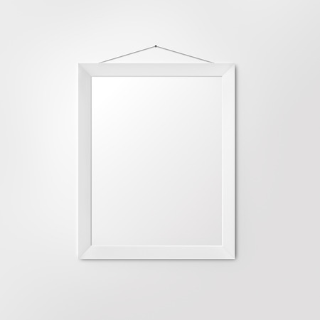 art exhibition: White blank frame on clean background