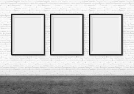 group picture: Art gallery. Blank picture frames on brick wall background.