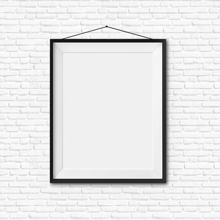 White blank frame on white brick wall background photo