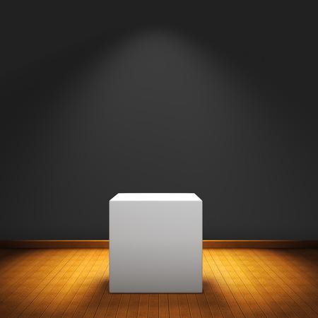Expositie doos met spot licht op houten vloer