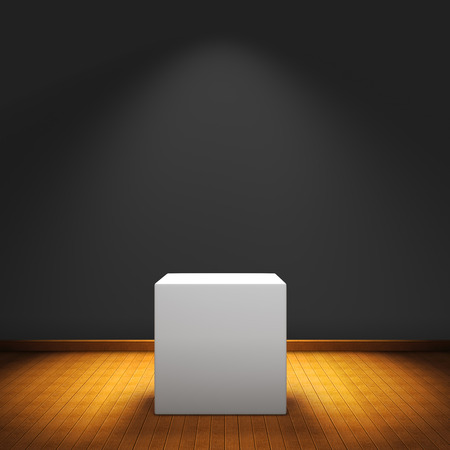 Exposition box with spot light on wood floor