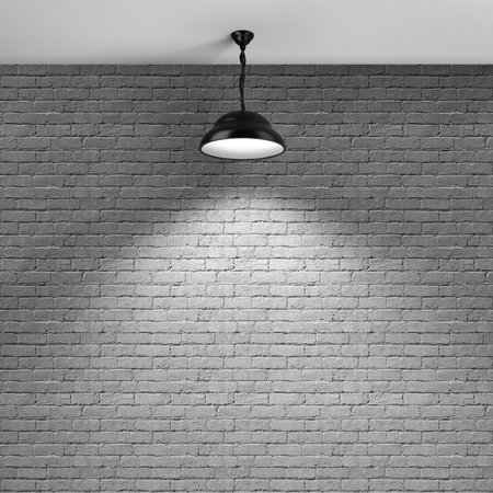 lamp: Brick wall background and ceiling lamp Stock Photo