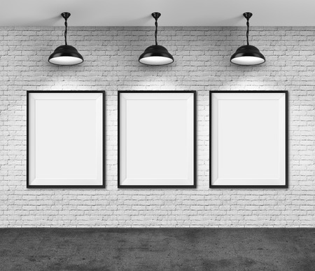 Art gallery. Blank picture frames on brick wall background. photo