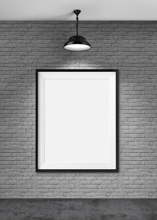 frame on wall: White blank frame on brick wall background Stock Photo
