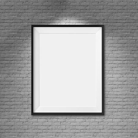 White blank frame on brick wall background photo