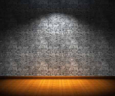 Salle intérieure avec mur de pierre et parquet Banque d'images - 31256003