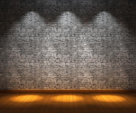Interieur kamer met stenen muur en een houten vloer
