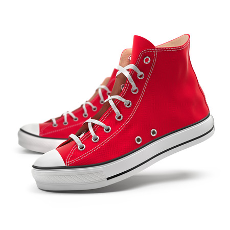 Red sneakers isolated on white background