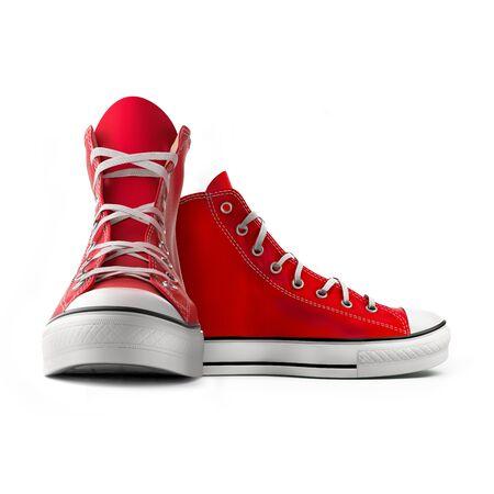 icono deportes: Zapatillas de deporte rojas aisladas sobre fondo blanco Foto de archivo