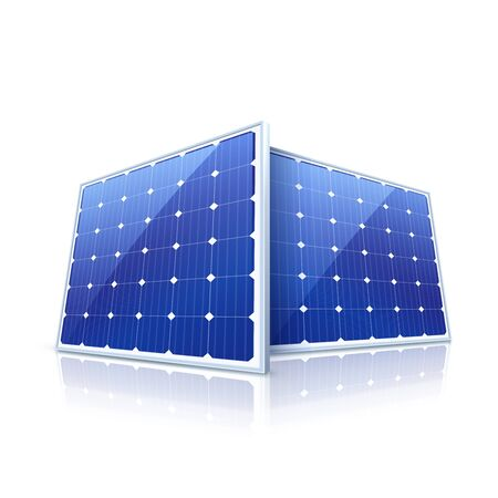 blue roof: Solar panel. High quality illustration Illustration