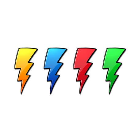 lightnings: Lightnings multicolor set. Isolated on white background