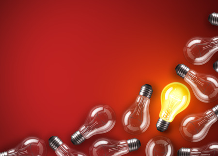 bulb: Group of lamp bulbs on red background. 3D illustration Stock Photo