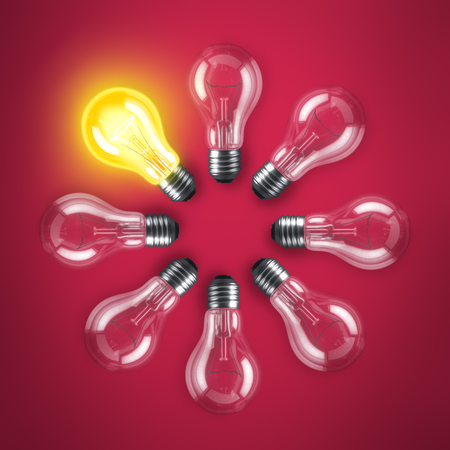 glowing light bulb: Group of lamp bulbs circle on red background. 3D illustration