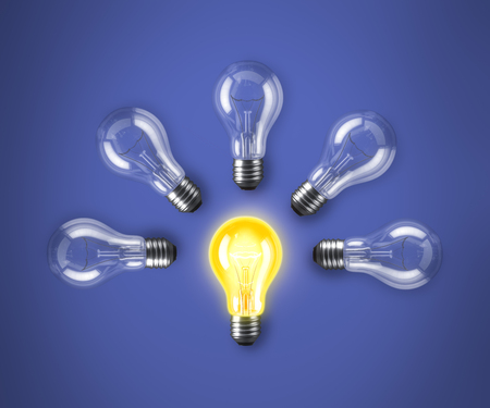 choise: Group of lamp bulbs on blue background. 3D illustration
