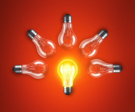 choise: Group of lamp bulbs on red background. 3D illustration Stock Photo