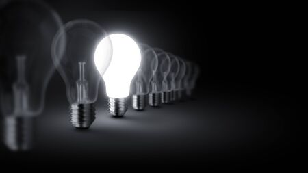 perpective: Group of lamp bulbs on black background. 3D illustration