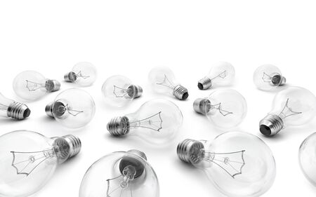 perpective: Group of lamp bulbs isolated on white background. 3D illustration